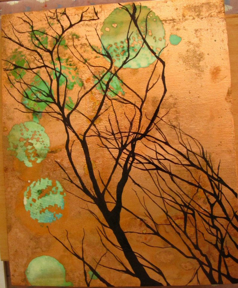 Alchemic Cultivation Series untitled 1 Ink on recycled timber, copper leaf, copper patina