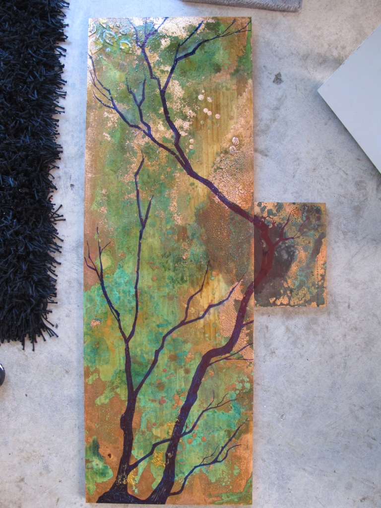 Alchemic Cultivation Series untitled 3 Ink on recycled timber, copper leaf, copper patina