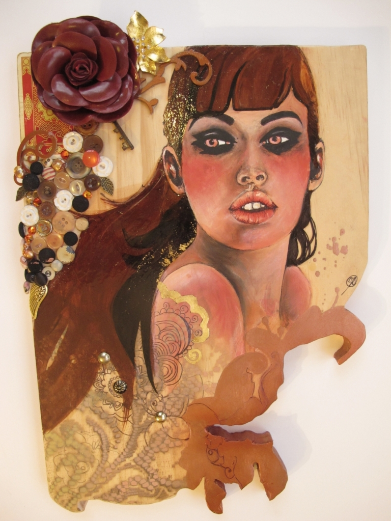 Bronze Ponderance Gouache, stain, oils, ink, pen, spray paint, bronze particles, leather, vintage playing cards, vintage buttons, antique keys, various adornments