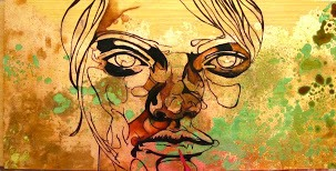 Oil, ink & pen on recycled timber, copper leaf, copper patina