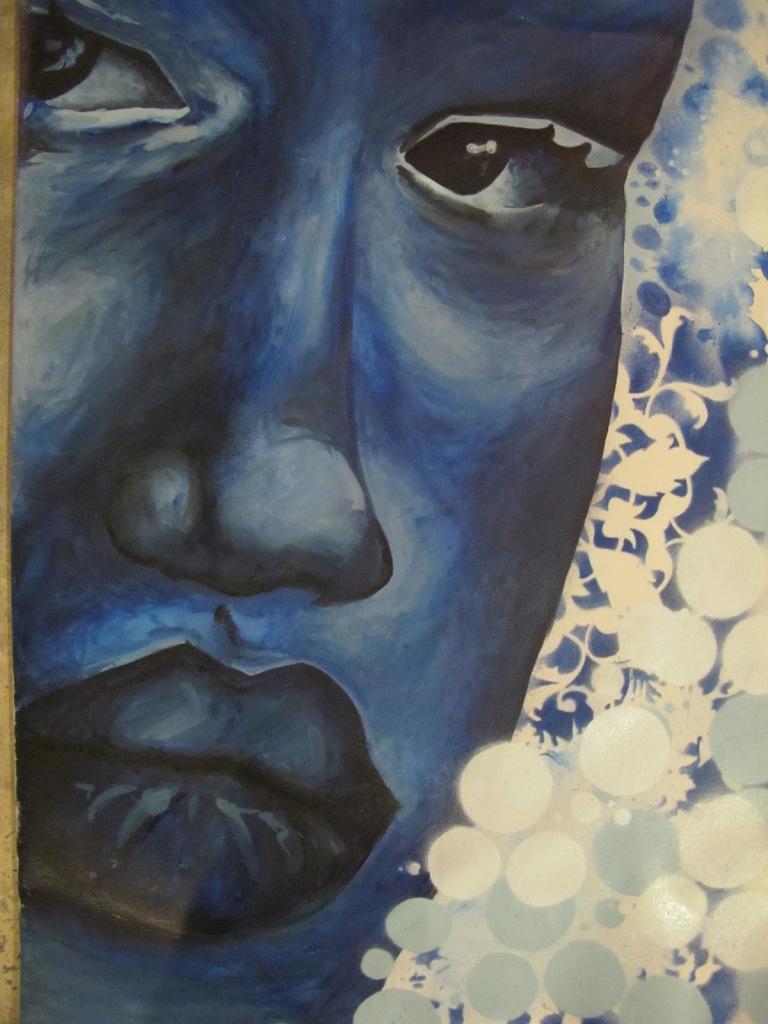 Cerulean Gouache & spray paint on canvas