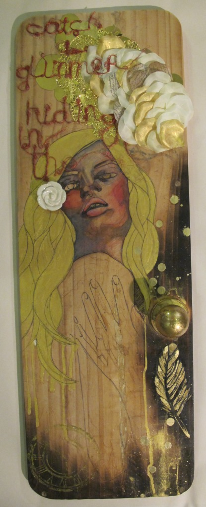 A Cimmerian Shade Gouache & ink on recycled timber, gold foil, gold leaf, found objects, applique, recycled copper wiring
