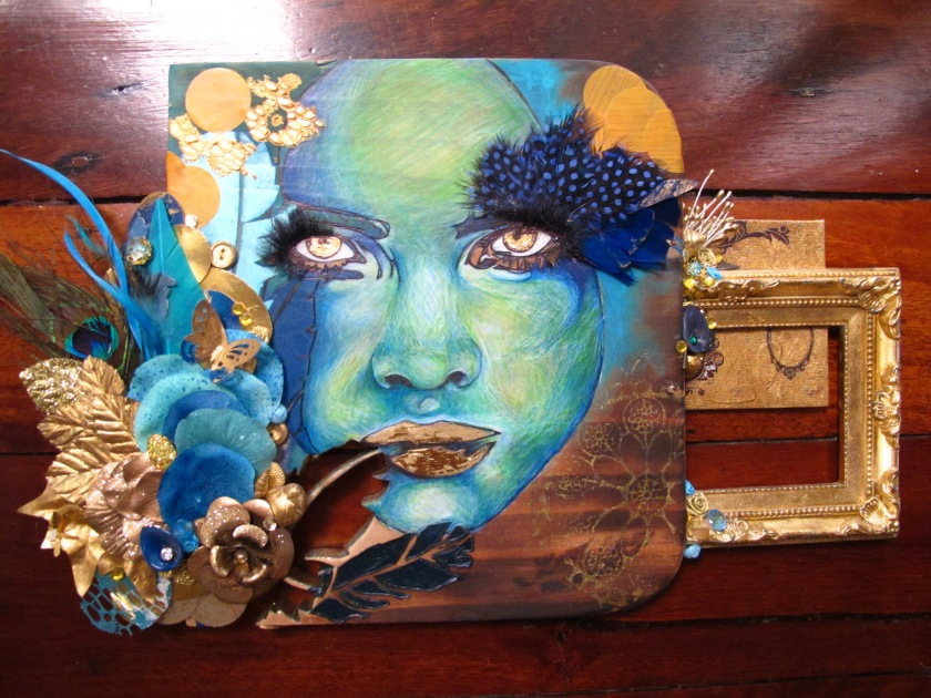 Clandestine Azurities Coloured pencil on recycled timber, gold leaf, gold foil, found objects, applique