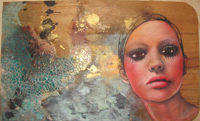 Fractured Ruination Chalk pastels on recycled timber, gold leaf, gold dust, copper leaf, copper patina, cracked acrylic medium, ink