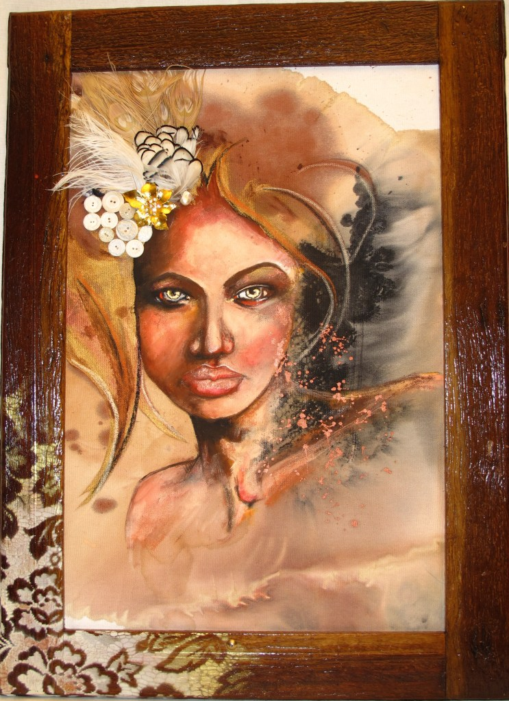 Gilded Gaze Gouache, ink, antique frame, bronze particles, feathers, vintage buttons, brooch  on board