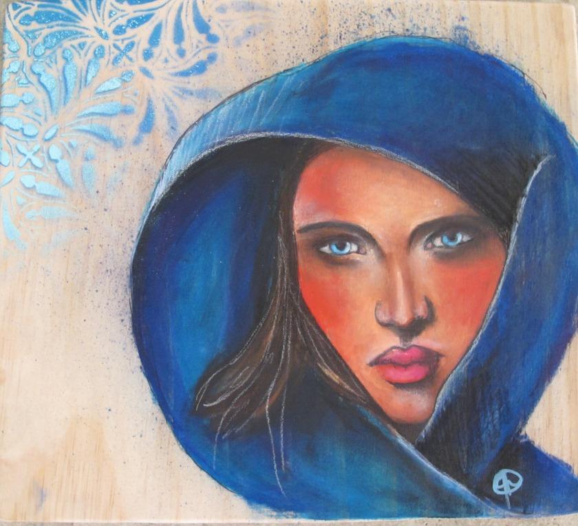 Hooded Gaze Gouache & spray paint on wood